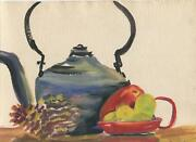Vintage Tea Kettle Pine Cones Red Pepper Expressionist 1940s Watercolor Painting