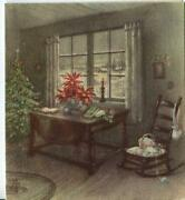 Vintage Christmas Tree Knitting Needles Yarn Rocking Chair Candle Book Snow Card