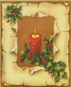 Vintage Christmas Country Charm Faux Wood Peeling Bark Candle Art Greeting Card