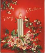 Vintage Christmas Silver Candle White Holly Berries Anemones Flowers Card Print