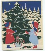 Vintage Christmas Tree Children Girls Holly Forest Star Blue Sky Woodblock Print