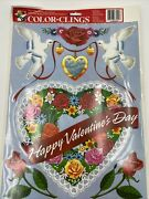 Vintage 1990's Color-clings Static Cling Window Decorations Valentine's Day New