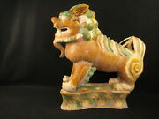 Antique Chinese Large Hand Made Porcelain Ceramic Foo Dog Early Qing Dynasty