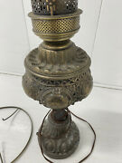 Vintage Hurricane Lamp Bronze Base Electric Works Has Support Ring For Globe