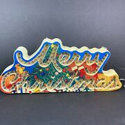 Vintage Holiday Classics Glow Merry Christmas Lighted Sign Motion Greetings 1992