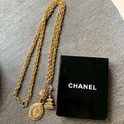 Vintage Long Necklace Gold Plated Thick Chain Cc Logo Charms With Box