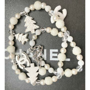 Necklace Silver And White Beads Pearls Christmas Tree Cc Logo Charms 03a