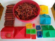 Lincoln Logs Huge Lot Of 574 Pieces Wooden Building Blocks Logs Windows Roofs