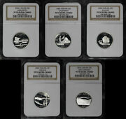 2005-s Mn, Ca, Ks, Or, And Wv Silver State Quarter 5pc. Set Ngc Pf-70 Ultra Cameo