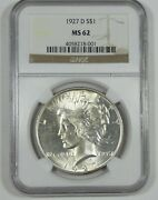 1927-d Peace Dollar Certified Ngc Ms 62 Silver Dollar