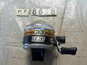 T8628 Pf Zebco Spinner 33 Fishing Reel Made In Usa Metal Foot Works Good