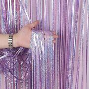 3 Pack Fringe Curtains Party Decorationstinsel Backdrop Curtains Light Pink