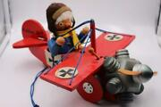 Germany Steinbach Hand-made Wooden Smoker Music Box Red Barron Plane Fighter