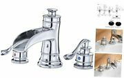 Widespread Bathroom Faucet With Supply Line Lead-free Waterfall 8 Inch Chrome