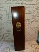 Vintage Wood And Brass Lion's Head. Fireplace Long Matches Holder Box. Free Ship