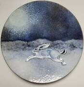 Vtg Mid-century Norman Brumm Enamel On Copper 6andrdquo Bunny In The Snow Moon Plate