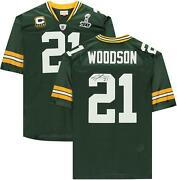 Charles Woodson Gb Packers Signed Green Mandn Sb Xlv Throwback Authentic Jersey