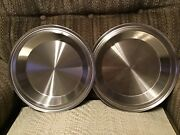 """2 Stainless Steel Heavy Duty Made In Usa Pie 9"""" Pie Pans X 1 1/4""""t Vintage Nice"""
