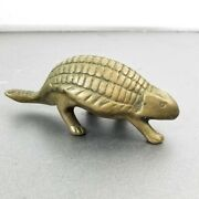 Vintage Solid Brass Armadillo Figurine Texas State Mammal 5 Long Armored Mammal