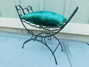 Vtg Cute C1970s Hollywood Wrought Iron Regency Bench Vanity Footstool W/ Pillow