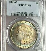 1883-o Morgan Silver Dollar Pcgs Ms65 Exquisite Neon Gold And Sea Greens And Blue
