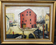 1960s Manchester School Oil Painting.matchstick Men Signed Lowry