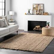 Hand Woven Chunky Jute Farmhouse Area Rug 5and039 X 7and039 6 Natural