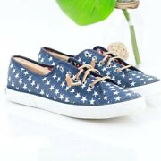 Sperry 8.5 Sneaker Pier View Stars Slip On Blue Canvas White Low Top Casual