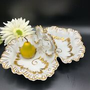 Antique French Limoge Divided Dish Ornate Gold And White Porcelain Handled Vgcd