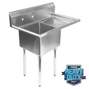 Open Box - Commercial Stainless Steel Kitchen Utility Sink W Drainboard