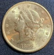 1896-s 20 Gold Double Eagle Liberty Coin Brilliant Uncirculated Bu
