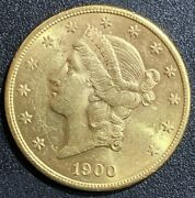 1900-s 20 Gold Double Eagle Liberty Coin Brilliant Uncirculated Bu