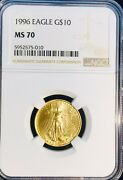 1996 10 Gold Eagle 1/4 Ozt. Ms70 Ngc