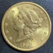 1904-s 20 Gold Double Eagle Liberty Coin Brilliant Uncirculated Bu