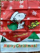 Peanuts Snoopy Red Sleigh Snow Christmas 28x40 Inches House Flag Winter
