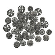50pcs Round Mixed Antique Silver Vintage Metal Buttons For Crafts Sewing