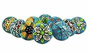 10 Pcs Lot Ceramic Knobs Multi Color Assorted Pottery Drawer Handle Door Pulls