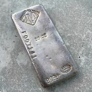 Johnson Matthey 20 Oz .999 Silver Poured Bar - F Serial Number