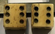 Authentic Revolutionary War Era Pr. Bone Dice W/ Partial Crown And Gr Stamps 7/16andrdquo