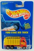 Vintage 1991 Hot Wheels - Ford Stake Bed Truck 4641 Red W/ 5sp Rims New Nrfp