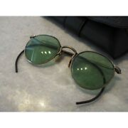 American Optical Sunglasses Ful-vue Round Silver And Green 48-25 1930and039s Vintage