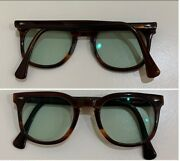 American Optical Sunglasses Times Tortoise Brown And Green Square 48-24 Vintage