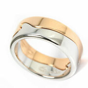 George Jensen Double Fusion Ring 48 Us9.5 K18 Wg Pg W/jewelery Case Used Auth