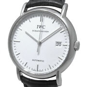 Portfino Iw353301 Automatic Cal.30110 White Dial Date Stainless Leather Mens