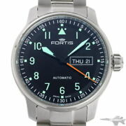 Fortis Flieger Day Date Automatic 704.21.158 Black Dial Stainless Watch Used