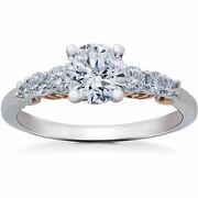 Gvs 1.40 Ct Diamond Lab Grown Vintage Engagement Ring 14k White And Rose Gold