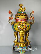 24china Collection Pure Copper Cloisonne Three Layers Lion Cover Incense Burner