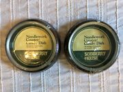 Two Vintage Sudberry House Needlework Coaster Candy Dish 6 Rounds Wood Glass
