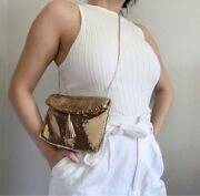 Vintage Whiting And Davis Gold Metal Mesh Rope Crossbody Bag / Clutch Euc 1980s