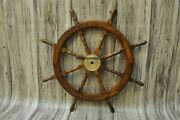 Nautical Antique Wooden Ship Wheel 36and039and039 Pirate Captain Brass Boat Steering Home
